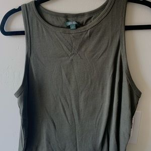 Crop Top Solid Army Green (Large)